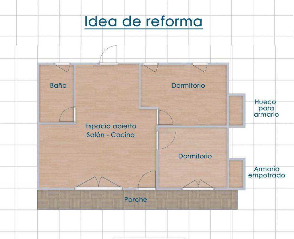 plano de la vivienda actual y de la reforma posible